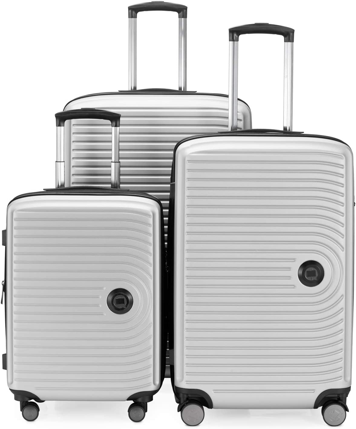 HAUPTSTADTKOFFER - Juego de 3 maletas extensibles – Trolley cabina de de 55 cm, Equipaje de tamaño mediano 68 cm + maleta grande para viaje 77 cm, cáscara dura ABS, TSA, Blanco