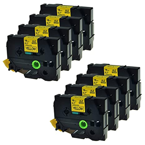 US SHIP 10PK TZ641 Black on Yellow Label Tape TZe641 for Brother P-touch 18mm 8M