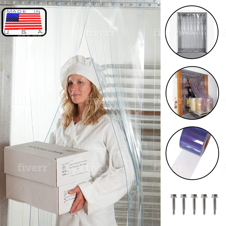"Strip Curtain Door Kit - 42"" x 84"" - Set of Clear PVC Vinyl Strips for Walk in Freezer, Commercial Kitchen, Unit Cooler Room, Warehouse Doorways - Steel Universal Mount Hardware Included"