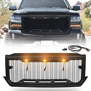VZ4X4 Front Grille ABS Mesh Grill Fit For 2016 2017 2018 Chevrolet/Chevy Silverado 1500 Heavy Duty Grill W/ 3 Amber LED Lights & Wiring Harness Kit - Matte Black