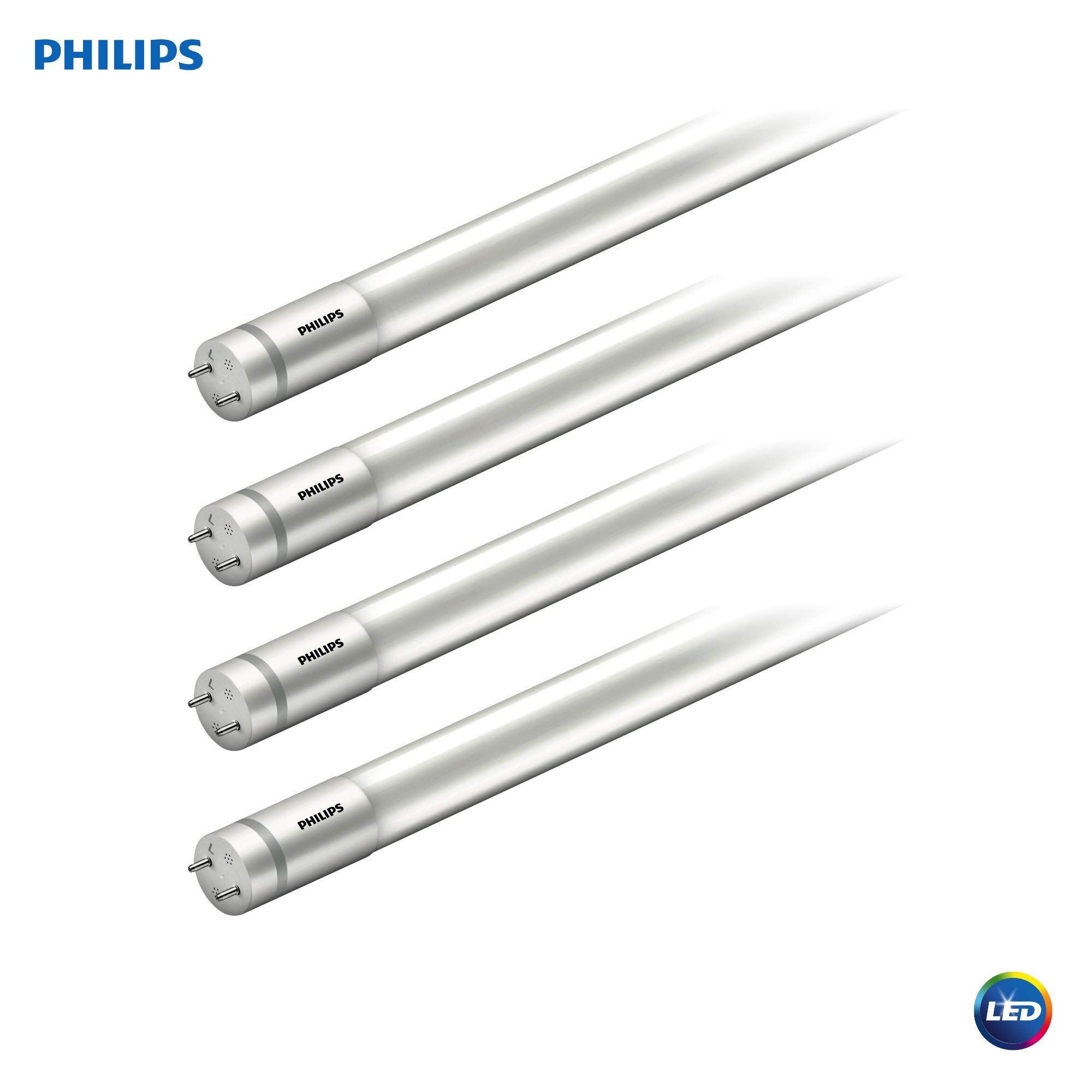 Philips LED MainsFit Ballast Bypass 2-Foot T8 Tube Glass Light Bulb: 1100-Lumen, 4000-Kelvin, 8.5 (17-Watt Equivalent), Medium Bi-Pin G13 Base, Frosted, Cool White, 4 Pack, 544205, Piece