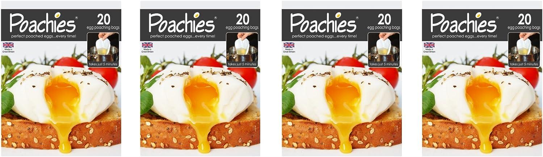 Poachies P-80 - Bolsas para pochar huevos, 17 x 13,5 x 2 cm, pack de 4 x 20 unidades