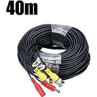 FLOUREON BNC Câble 40M DC Vidéo Câble d'alimentation 131.2 Pieds CCTV Caméra Câble pour Système de Sécurité/Kit de Vidéosurveillance/DVR (40M)