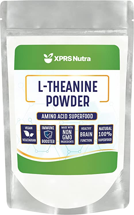 XPRS Nutra L Theanine Powder - L-Theanine Powder Focus Aid - L Theanine Supports Stress Relief and Relaxation, Cognitive and Mood Support - Vegan Friendly Bulk Theanine Supplements (4 oz)