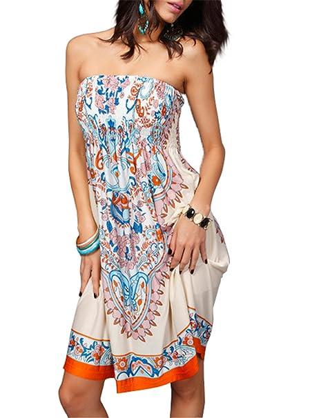 Tenxin Vestito Estivo Corto Floreale Boho Hippie Abito Senza Maniche Donna  Etnico Tribale Sexy Casual Elegante 3176db6f86e