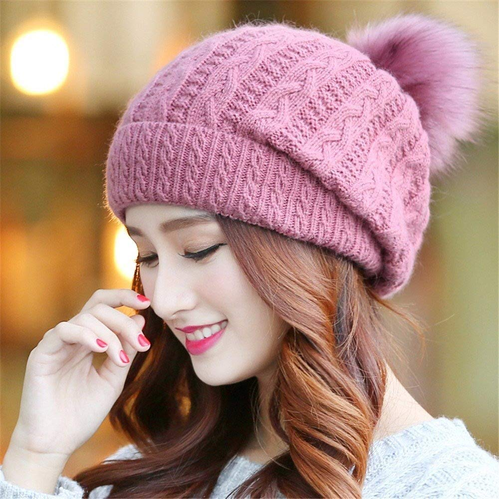 Tuyishangmao Knit Beanie Hat, Casual Solid Color Fur Pompoms Winter Beanie Hat (Color : Pink, Size : M)