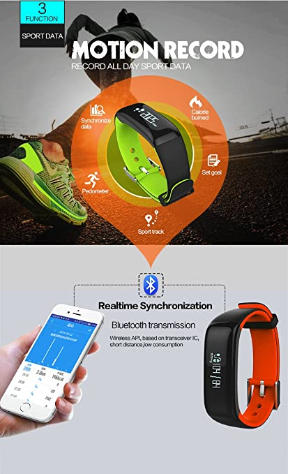 YO+ P1 Bluetooth Smart Band with Basic Blood Pressure, Heart Rate and  Fitness Health Sport Bracelet of Blue Colour
