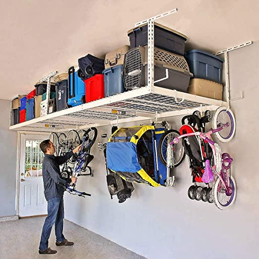 """SafeRacks 2 ft x 8 ft Overhead Garage Storage Rack and Accessories Kit 18/""""-33/"""""""