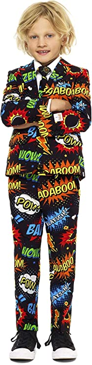 60s 70s Kids Costumes & Clothing Girls & Boys Opposuits Crazy Suits for Boys Aged 2-8 Years in Different Prints – Comes with Jacket Pants and Tie in Funny Designs $64.99 AT vintagedancer.com