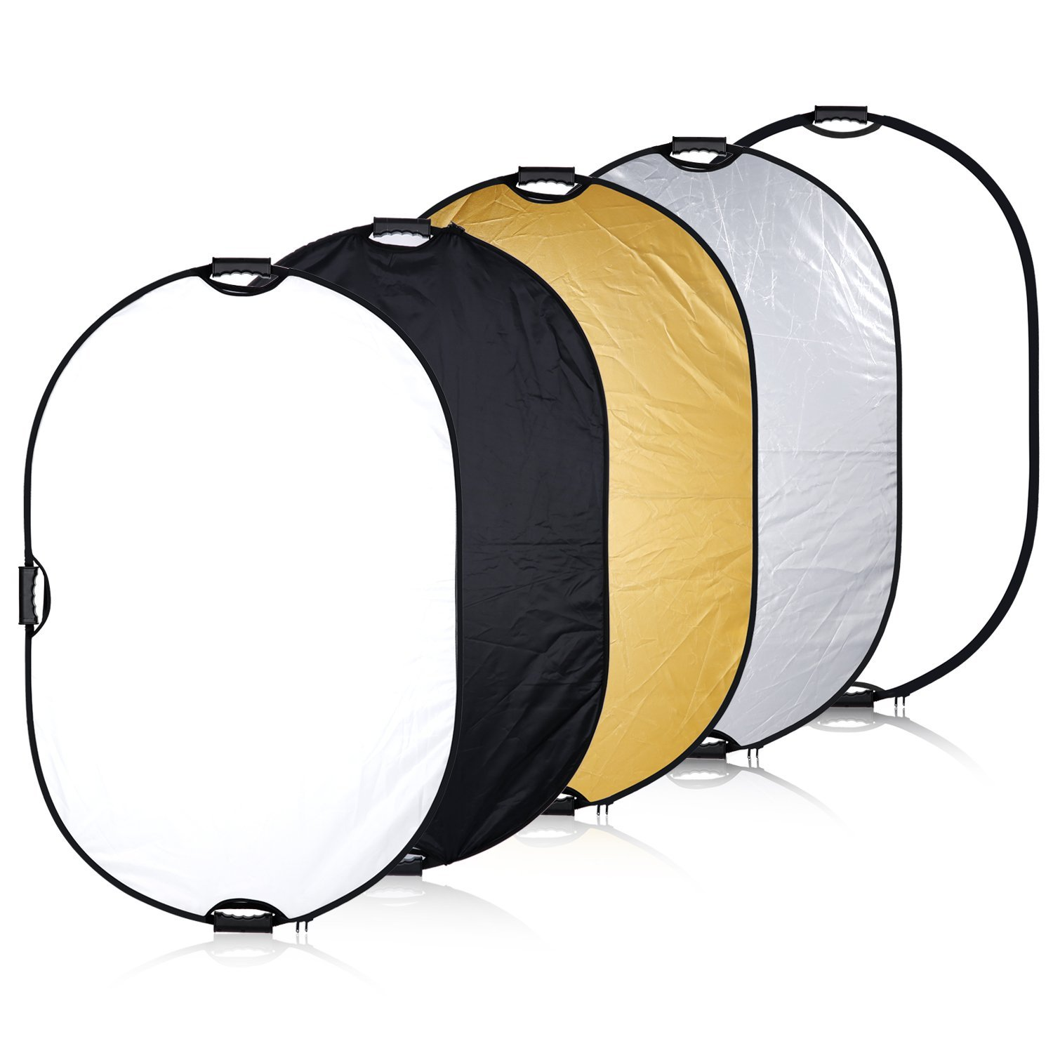 Neewer Portable 5-in-1 32x48inch/80x122cm Multi-Disc Oval Light Reflector with 3 Handle for Photography Photo Studio Lighting & Outdoor Lighting -Translucent, Silver, Gold, White and Black