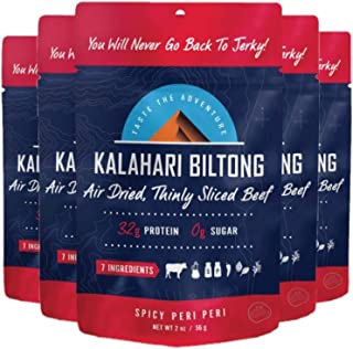 product image for Kalahari Biltong | Air-Dried Thinly Sliced Beef | Spicy Peri Peri | 2oz (Pack Of 5) | Sugar Free | Keto & Paleo | Gluten Free | Better Than Jerky