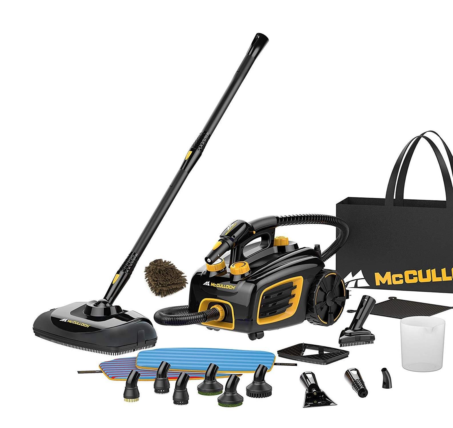 McCulloch MC1375 Canister Steam Cleaner System, Black Heavy-Duty (Complete Set) w/Bonus: Premium Microfiber Cleaner Bundle
