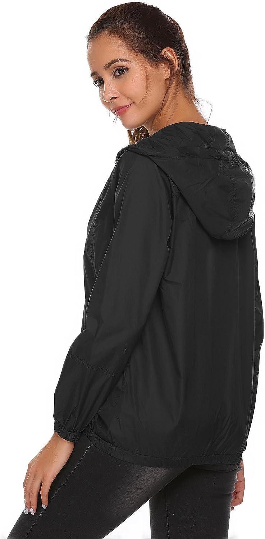 MEANEOR Women Hooded Long Sleeve Floral Lighweight Rain Jacket Raincoat