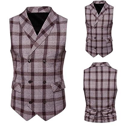 Wawer Casual Hombres Camisa, Hombre Cuadros la Chaqueta de Disfraz, sin Mangas Abrigo Disfraz
