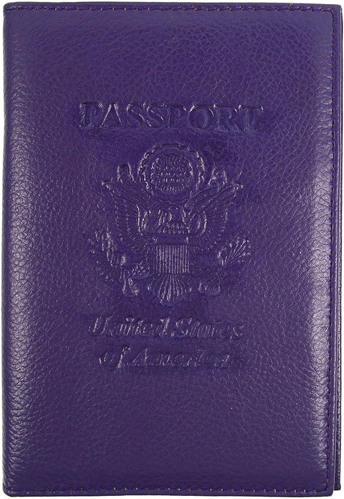 Black RFID Genuine Leather American Eagle Embossed Passport Wallet Holder Case