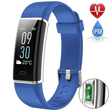 iPosible Pulsera Actividad, Impermeable IP68 Reloj Inteligente Color Pantalla Pulsera Inteligente Pulsómetro Pulsera Podómetro,