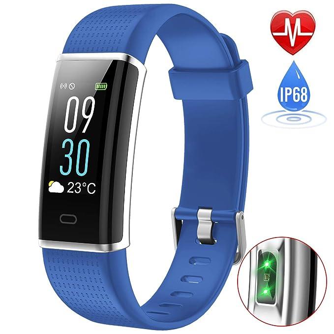 iPosible Pulsera Actividad, Impermeable IP68 Reloj Inteligente Color Pantalla Pulsera Inteligente Pulsómetro Pulsera Podómetro, Monitor de Sueño ...