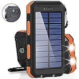ソーラーバッテリーモバイルバッテリーソーラーチャージャ大容量23000mAh充電器 二個LEDランプ搭載 急速充電対応 太陽エネルギーパネル 2USB出力ポート 電気量指示ランプ付き 羅針盤が付き IP67完全防水 SOS発信 高輝度LED太陽光で充電 旅行/キャンプ/ハイキング/地震/災害/アウトドア活動などに大活躍Android/iPhone/iPad/ゲーム機/カメラ等に対応
