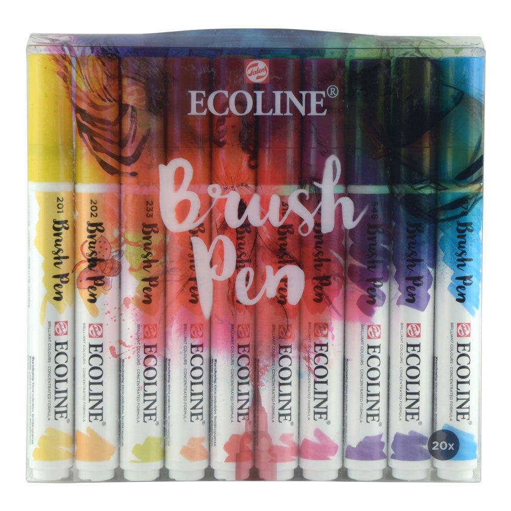 Royal Talens Ecoline Liquid Watercolor Brush Pen, Set of 20 Colors (11509004) ROYAL TALENS NA INC