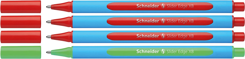 Schneider 152272/Slider Edge XB Profesores Correcci/ón Set Bol/ígrafo Verde Rojo 4/unidades en atril con trazo ancho XB