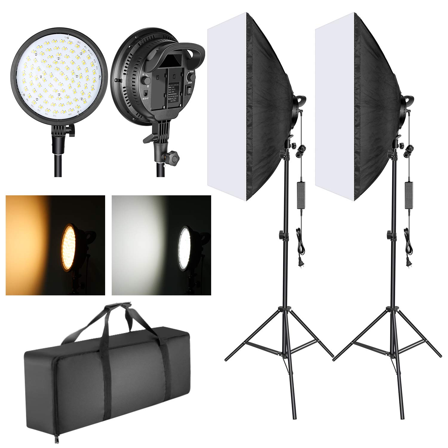 Neewer LED Softbox Lighting Kit: 20x28 inches Softbox, 48W Dimmable 2-Color Temperature LED Light Head with Battery Compartment and Light Stand for Indoor/Outdoor Photography (Battery Not Included) by Neewer
