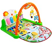 Tapiona Baby Gym Kick and Play Piano, Baby Play Gym Activity Mat - Colorful Glowing Piano Keys, 4 Rattle Toys, Mirror, Newborn Playmat for Boys and Girls 0-36 Month