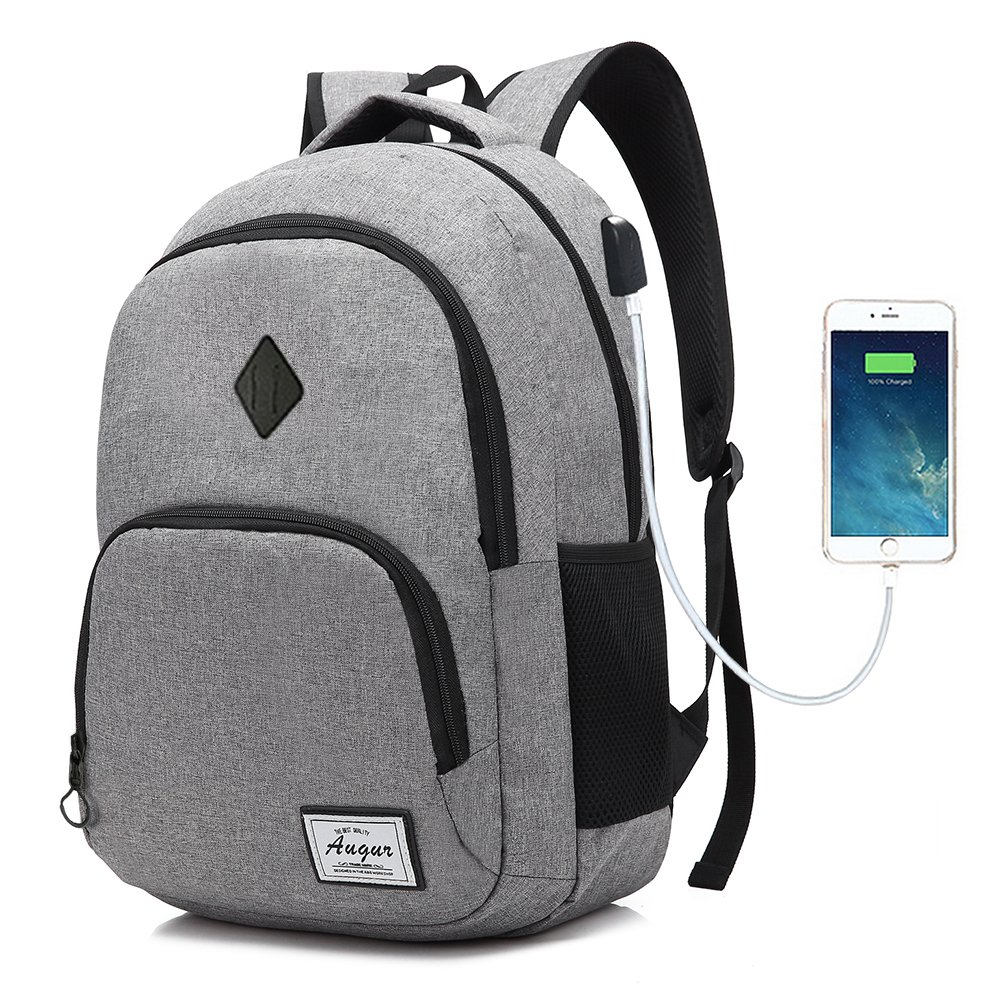 Laptop College Backpack Waterproof Lightweight Minimalism with USB Charging Port Business School Book Bag Travel Hiking Camping Outdoor Daypack Rucksack Fits 15-Inch Notebook (Black-L) iRepie