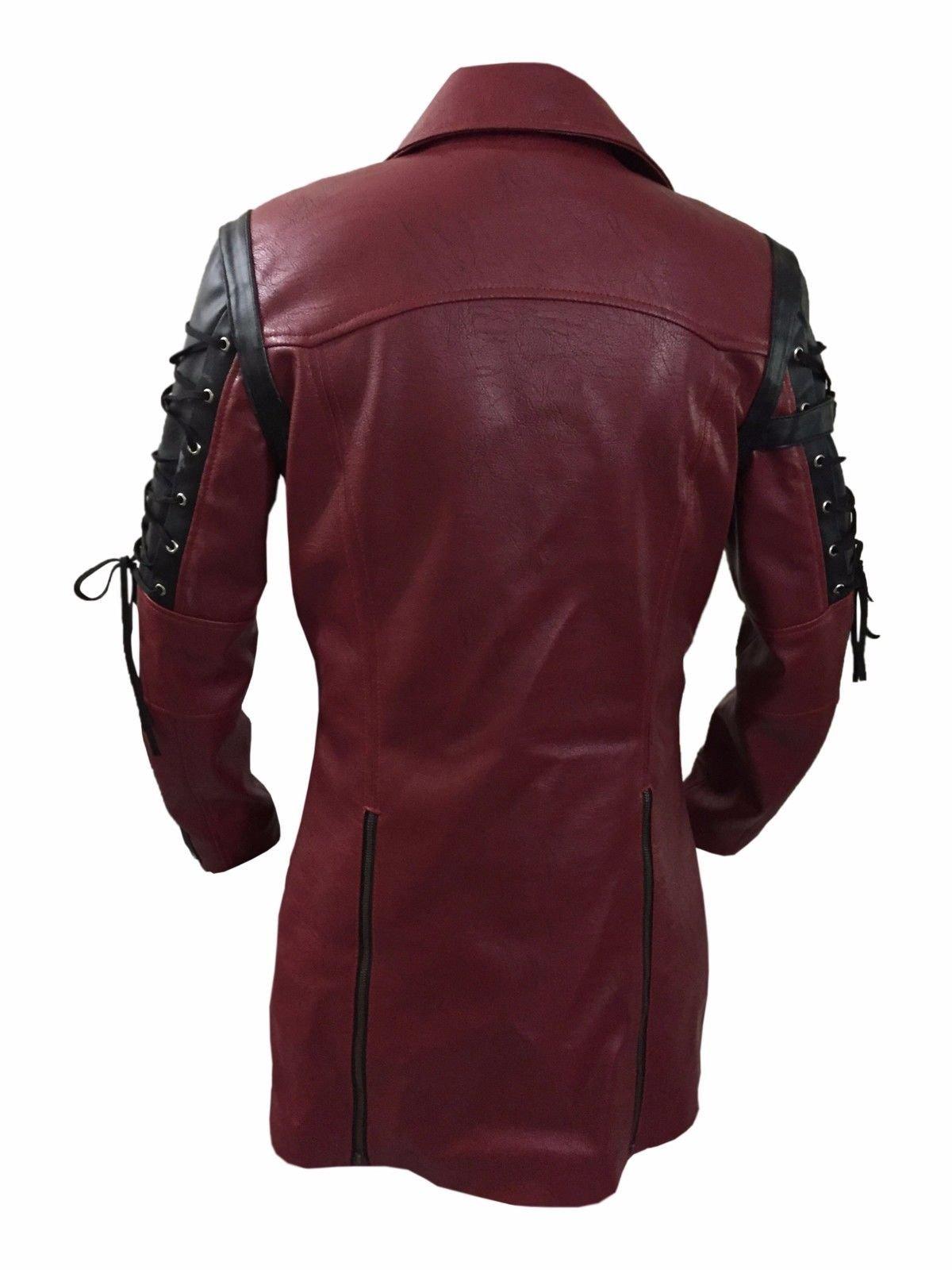 Steampunk Maroon & Black Renaissance Punk Faux Leather Victorian Gothic Coat 4