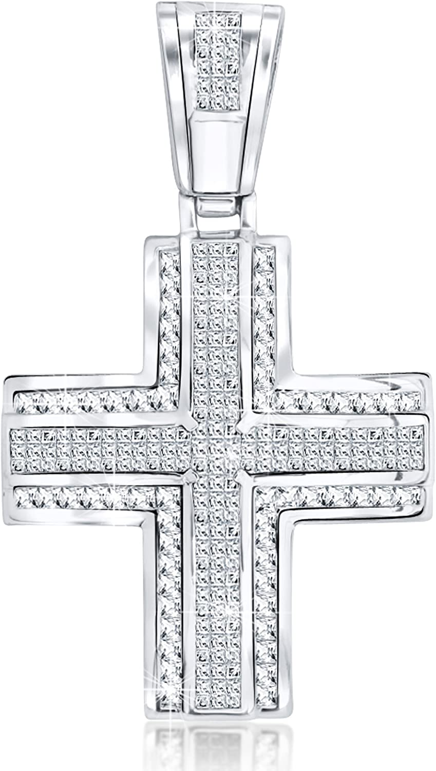 CZ Large Jewelry Tisoro 925 Solid Sterling Silver Big Cubic Zirconia Cross Pendant for Necklace
