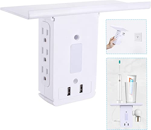 Outlet Extender Surge Protector with usb, Night Light, Electric Multi Plug Wall Outlet Expander 15 amp, Outlet Shelf, Outlet Multiplier Splitter Adapter indoor for Home, Fast Charge, White 1020J