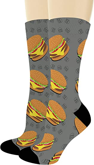 Cappuccino Latte Caffeine Tea Novelty Gift Socks Hamburger Hungry Take Out Fast Food Lover for Men Coffee Burger Socks 2 Pairs Socks