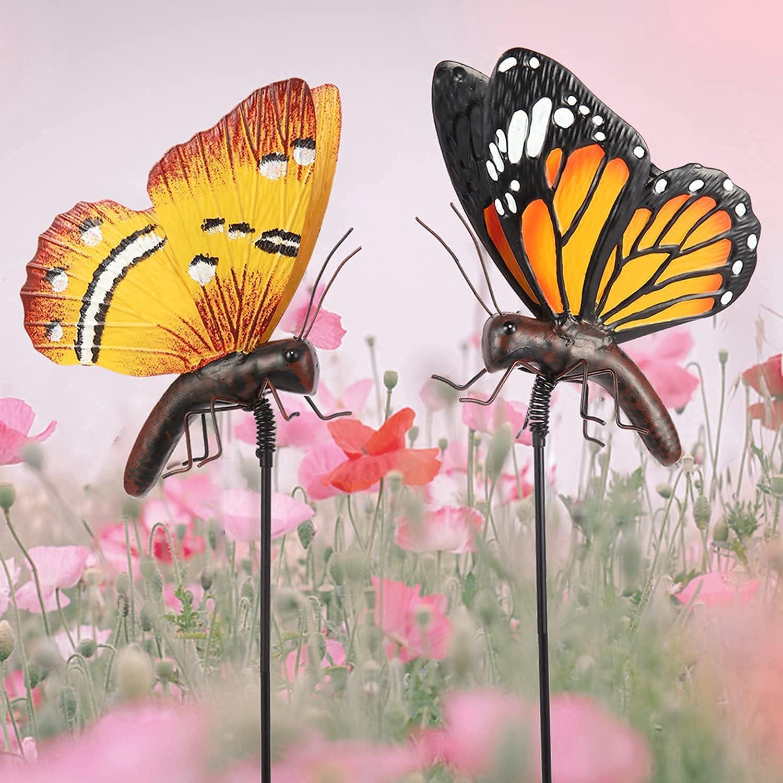 chisheen Butterfly Garden Stakes Decorative Metal Yard Art Butterfly Outdoor Decor Garden Art Stakes