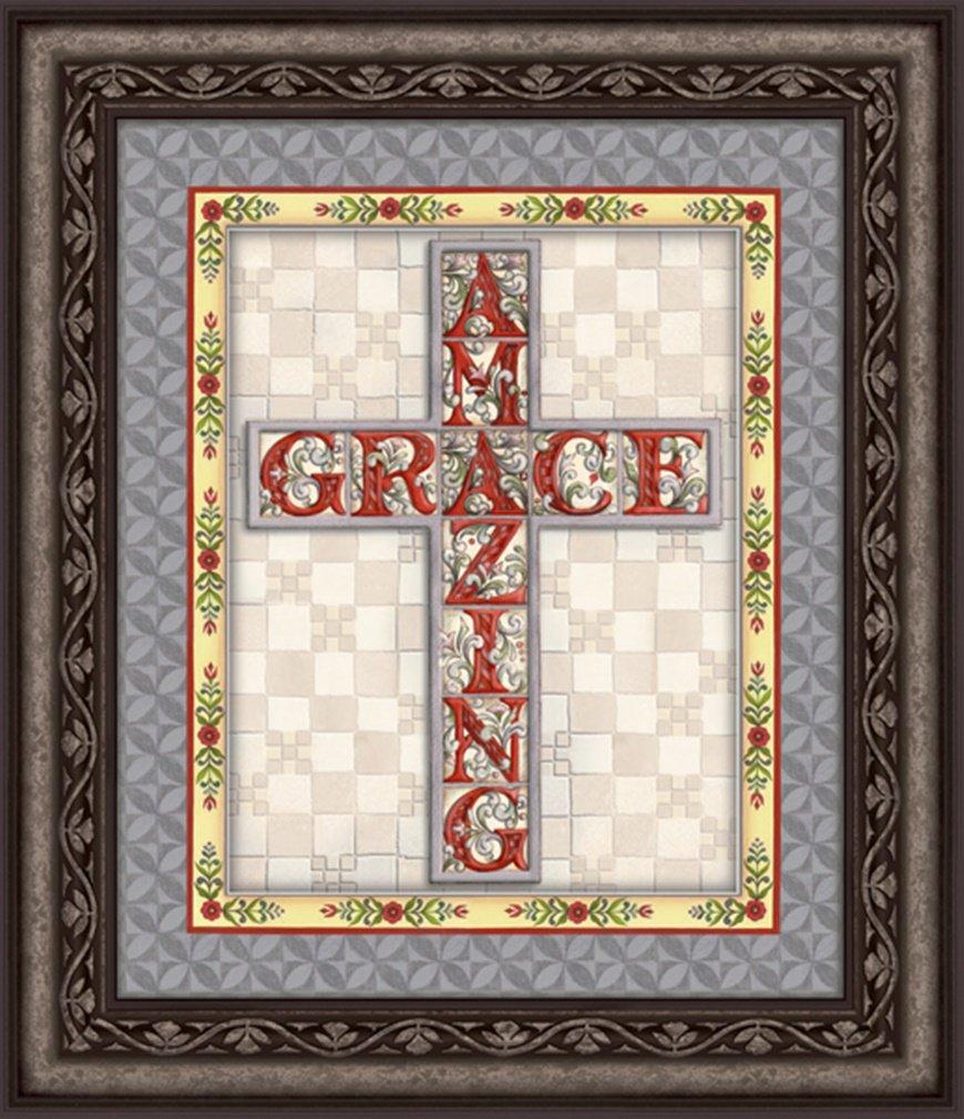 Jim Shore Design Amazing Grace Cross Framed Wall Art, 22 Inch by Jim Shore Design