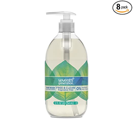 Seventh Generation Hand Wash Soap, Free & Clean Unscented, 12 Fl Oz, (Pack of 8) ( Pack May Vary )
