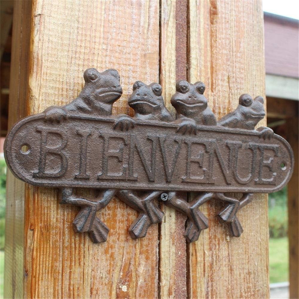 LH/éritier Du Temps Plaque Porte Murale /à Suspendre Ecriteau avec Inscription Bienvenue en Fer Patin/é Gris 0,1x24x28cm