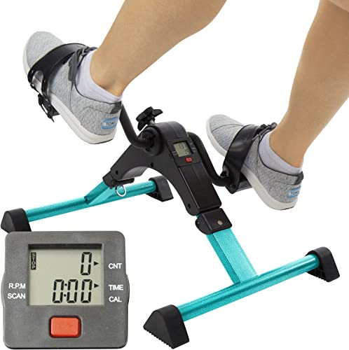Vive Desk Bike Cycle – Foot Pedal Exerciser – Foldable Portable Foot, Hand, Arm, Leg Exercise Pedaling Machine – Folding Mini Stationary Bike Pedaler, Fitness Rehab Gym Equipment