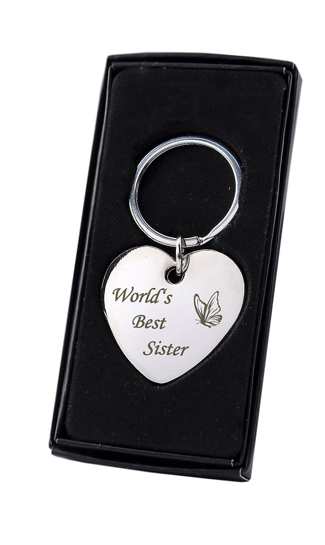 Chrom/é/-/Cadeau/sa s/œur pour anniversaire ou cadeau de No/ël Porte-cl/és c/œur avec inscription /« World/'s Best Sister /» avec papillon/