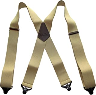 """product image for Holdup Contractor Series XL work suspenders in SunTan beige color with 2"""" straps and Jumbo Gripper Clasps"""