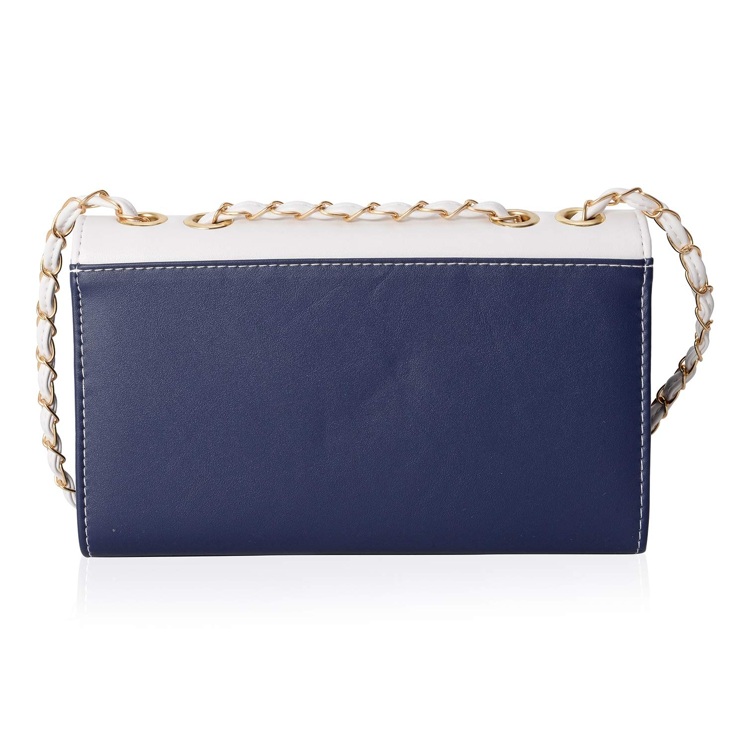 Navy and White Flap Over Crossbody Bag 10x3x6