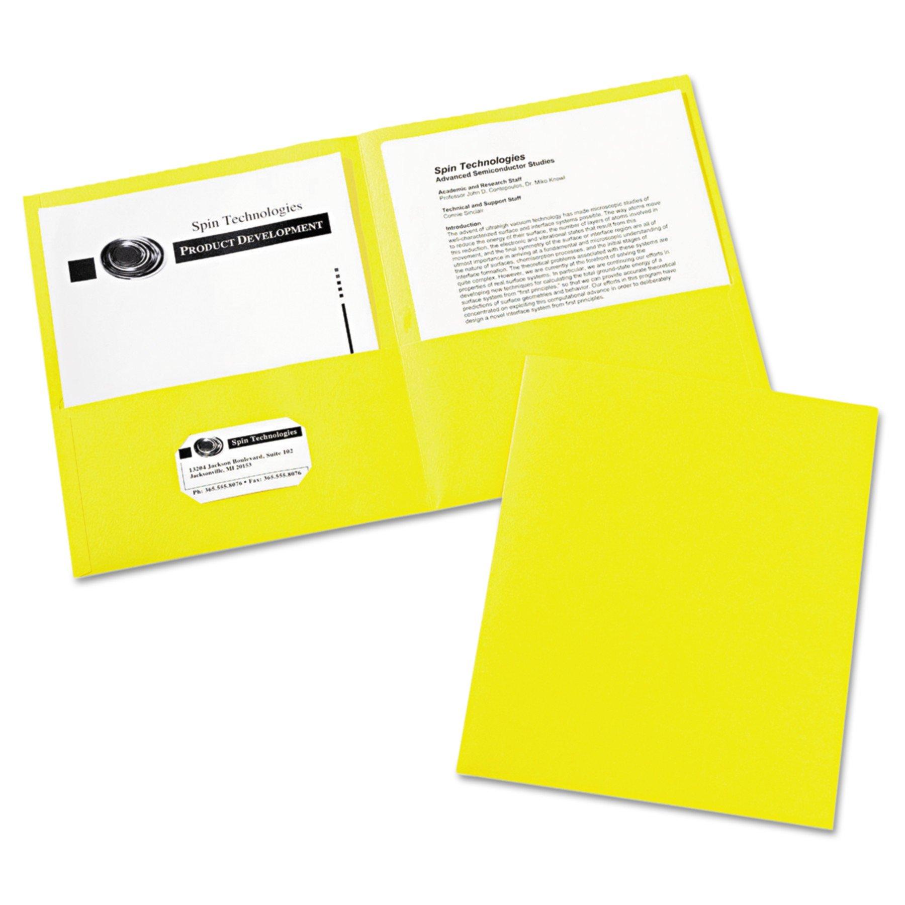 Avery 47992 Two-Pocket Folder, 40-Sheet Capacity, Yellow (Box of 25)