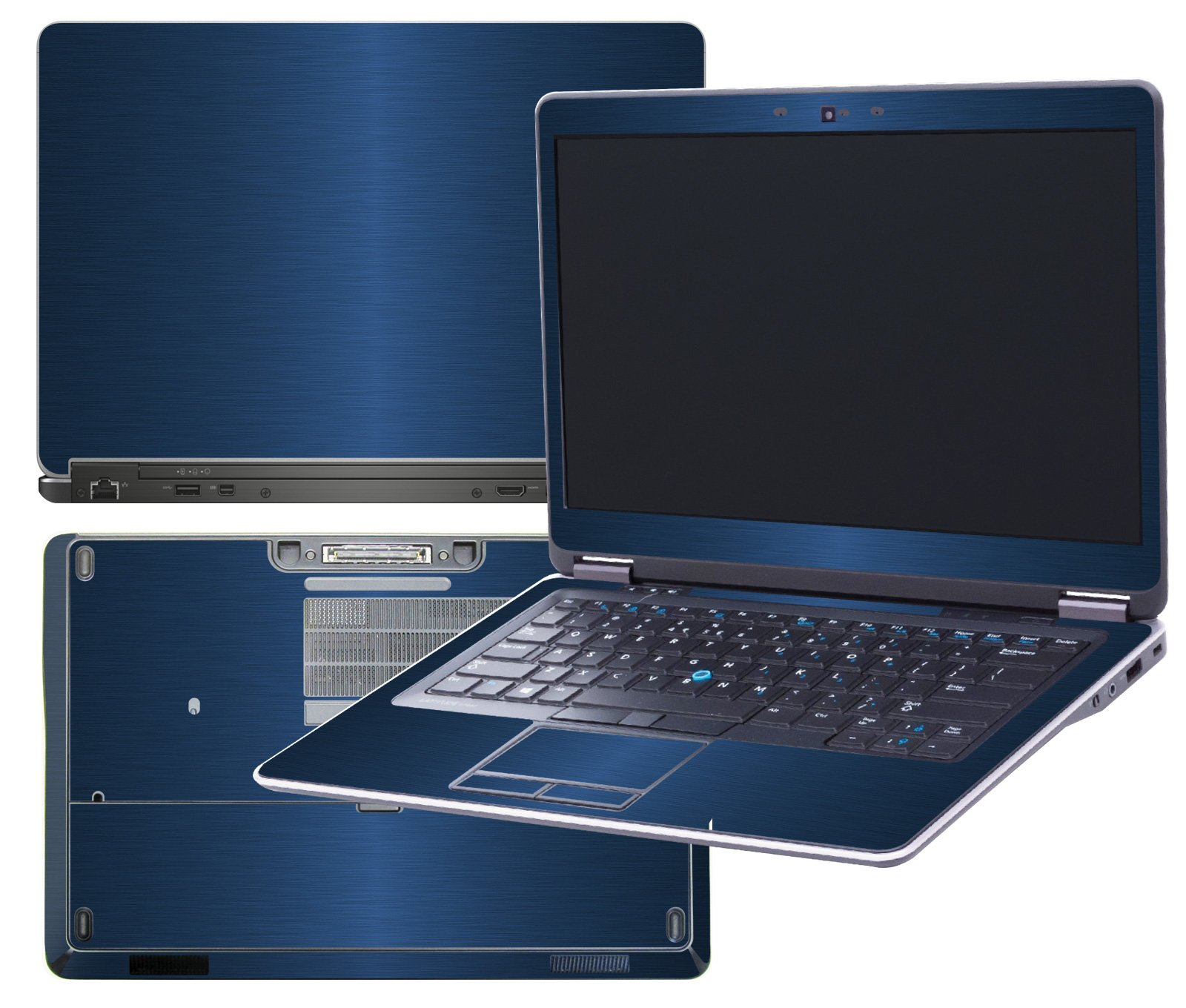 Decalrus - Protective decal for Dell Latitude E7440 (14'' Screen) laptop BLUE Texture Brushed Aluminum skin skins decal for case cover wrap BAlatitudeE7440Blue