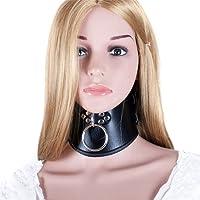 Locking Posture O Ring Collar- Davidsource Black Faux Double Leather Neck Belt Adjustable Lockable Choker Collar Restraint Head Harness BDSM Adult Sex Toy