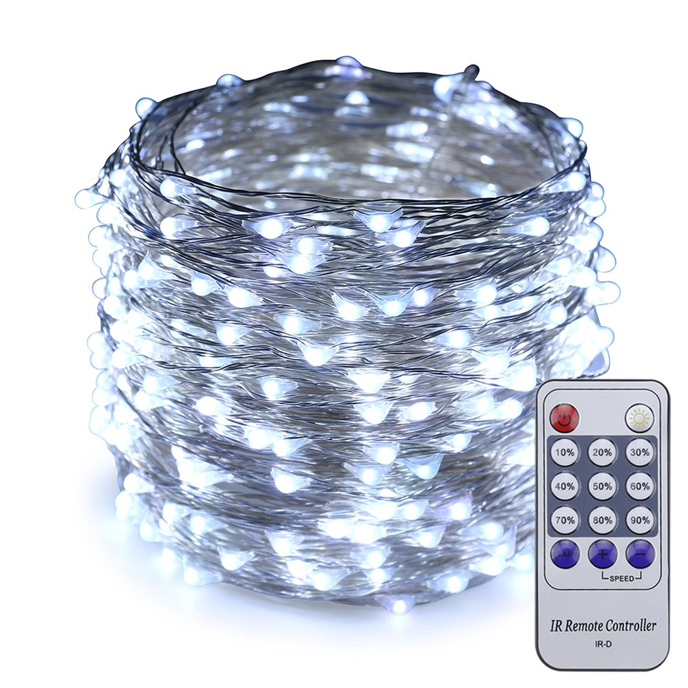 ER CHEN(TM) 66ft Led String Lights,200 Led Starry Lights on 20M Silver Coating Copper Wire String Lights + 12V DC Power Adapter + Remote Control(White)