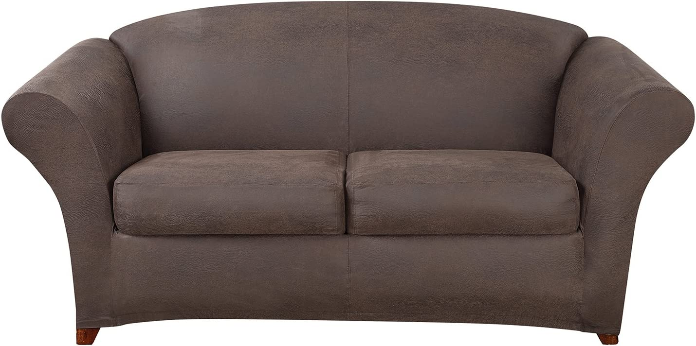 SureFit Ultimate Stretch Leather - Sofa Slipcover- Weathered Saddle (SF44049)