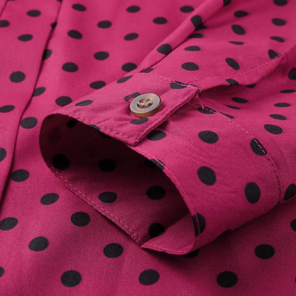 Auifor de Manga Larga de impresi/ón bot/ón de Punto Camisa Casual Camisa Superior de Las Mujeres de Moda