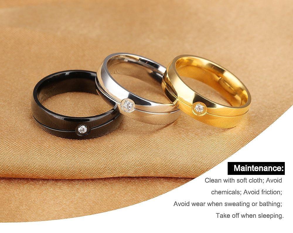 MOULLY Bague Femmes Diamant Fantaisie Anneaux en Acier Inoxydable pour Couple Alliances de Mariage Bague pour Homme Plaque Noir avec Sac Cadeau Bijoux Cadeau-Tailles au Choix