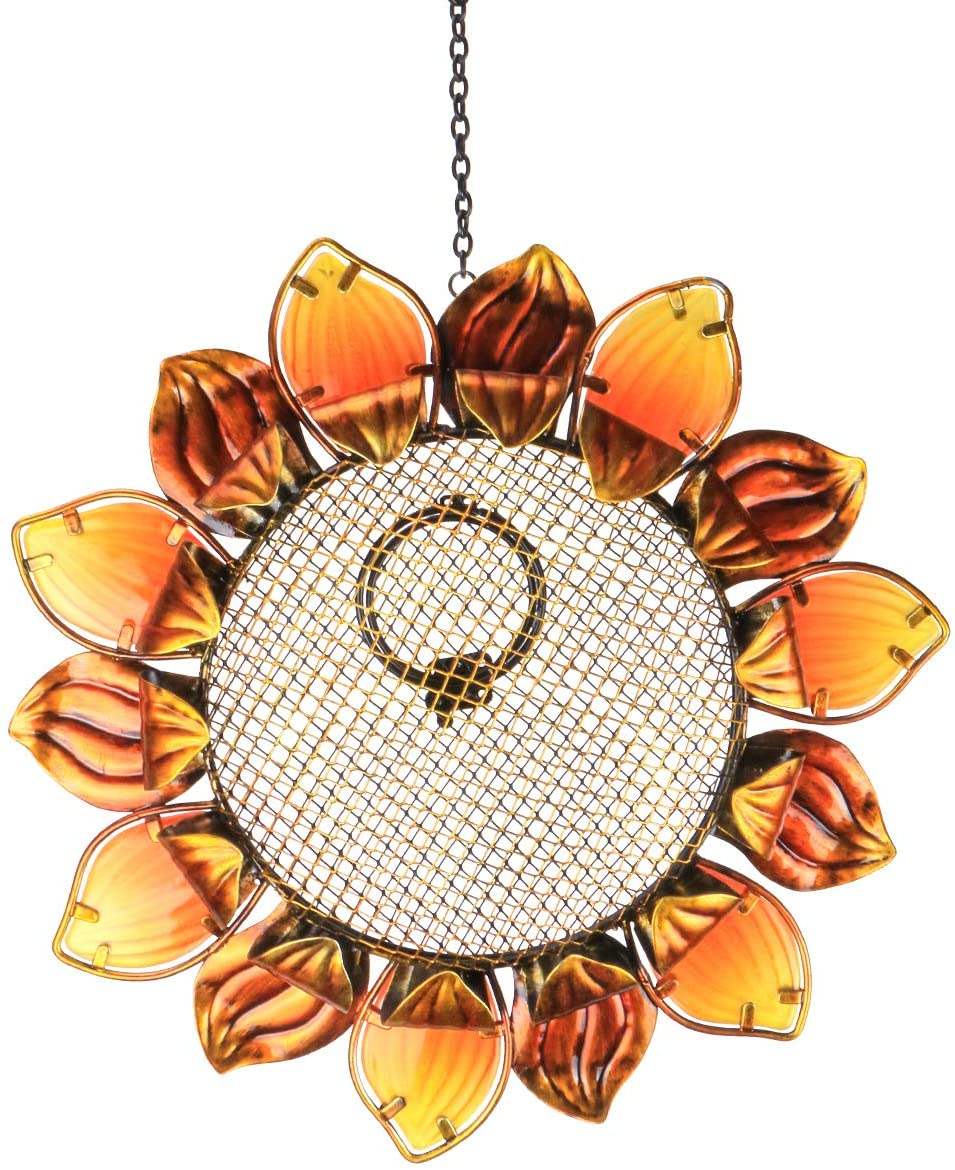 "MUMTOP Wild Bird Feeders 14"" Metal Sunflower Outdoor Bird Breeders Can Hang in Patio Garden Trees with Hook"