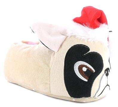 Ladies Knitted Ballet Animal Novely Slipper Pug / Panda With Non Slip Soles New 8534