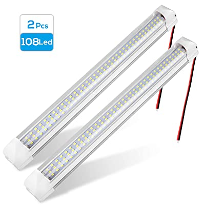 Linkstyle 2 Pcs 108LEDs 12V Interior LED Light Bar White Strip Light Car Interior Light Strip for Van Bus Caravan Truck RV Boat Cargo Trailer with On/Off Switch: Automotive