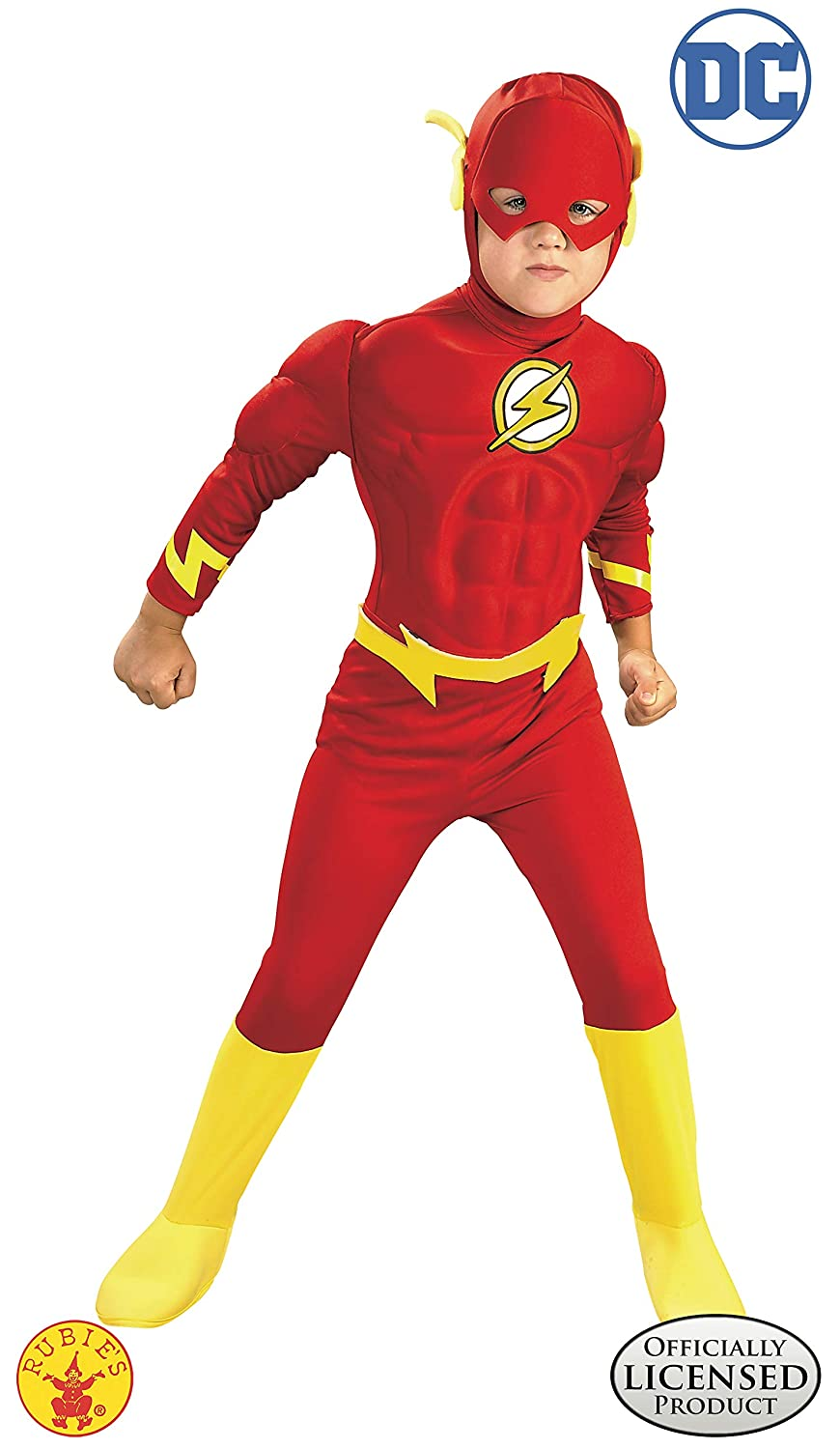 Rubies DC Comics Deluxe Muscle Chest The Flash Childs Costume  Small